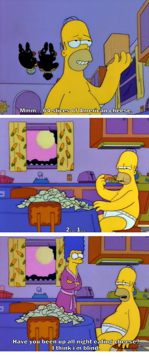 The Simpsons  Quote (About cheese blind american cheese)