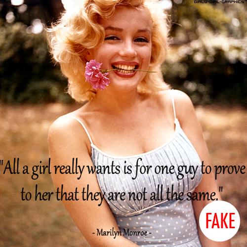 Marilyn Monroe Quote (About what girl wants special relationship love)
