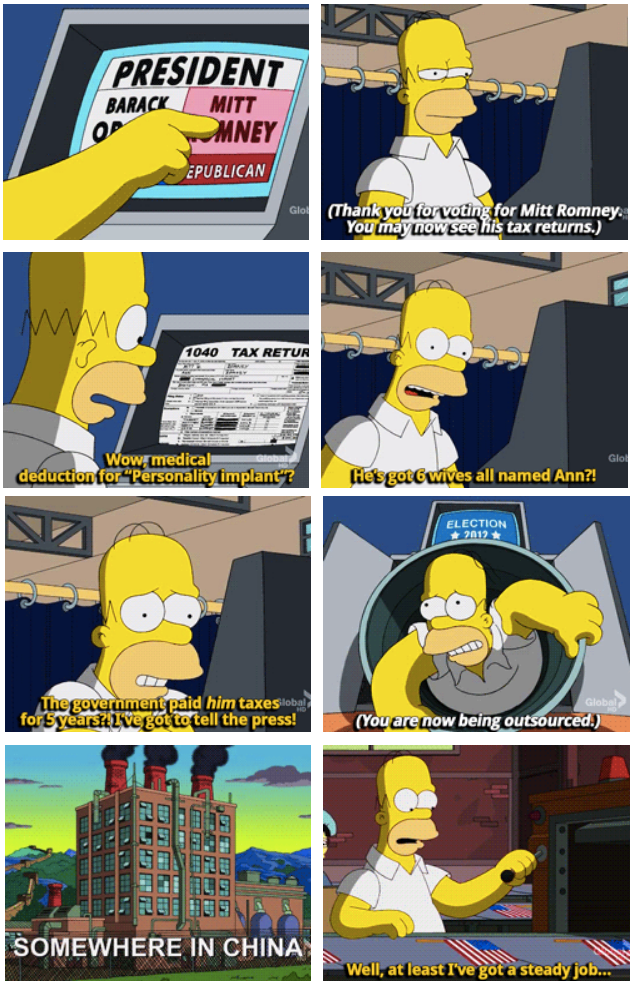 The Simpsons  Quote (About votes 2012 tax president mitt romney China)