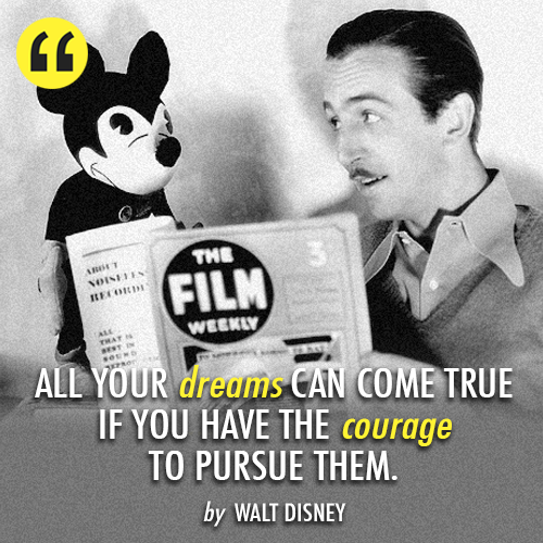 Walt Disney  Quote (About success inspirational goal dream disney courage)