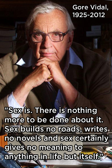 Gore Vidal Quote (About sex novels life)