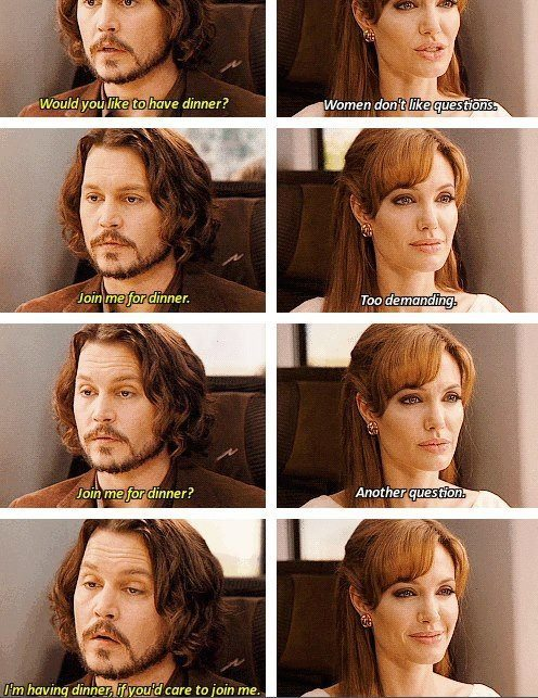 The Tourist (2010)  Quote (About train questions question dinner)
