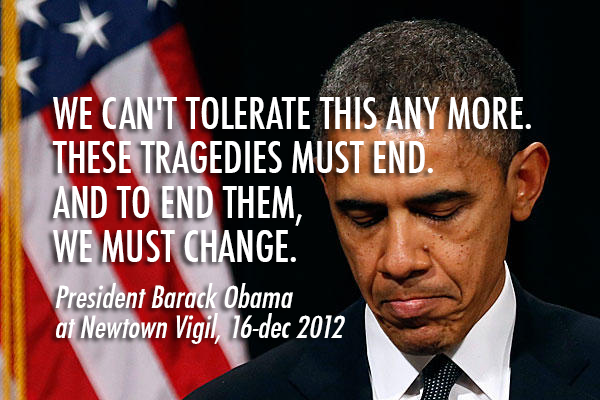 Barack Obama  Quote (About tragedy tolerate speech shooting Sandy Hook sad newtown vigil emotional change)