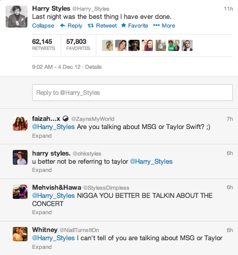 Harry Styles  Quote (About twitter tweet Taylor Swift love date concert)
