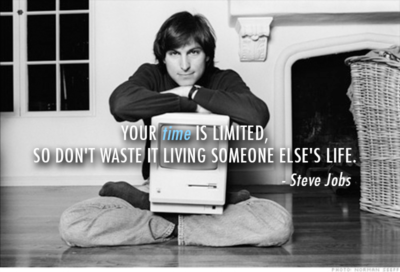 Steve Jobs  Quote (About waste time limited life inspirational be yourself)