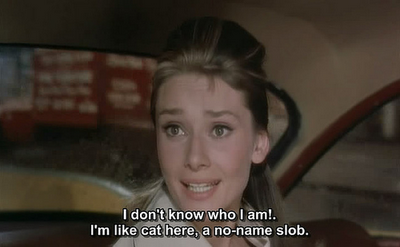 Breakfast at Tiffanys (1961) Quote (About who i am who am I who slob sad no name cat)
