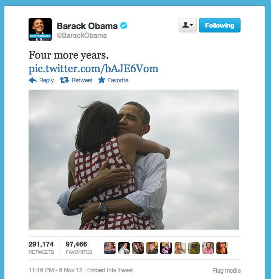 Barack Obama  Quote (About votes 2012 twitter top tweet president most tweeted tweet)