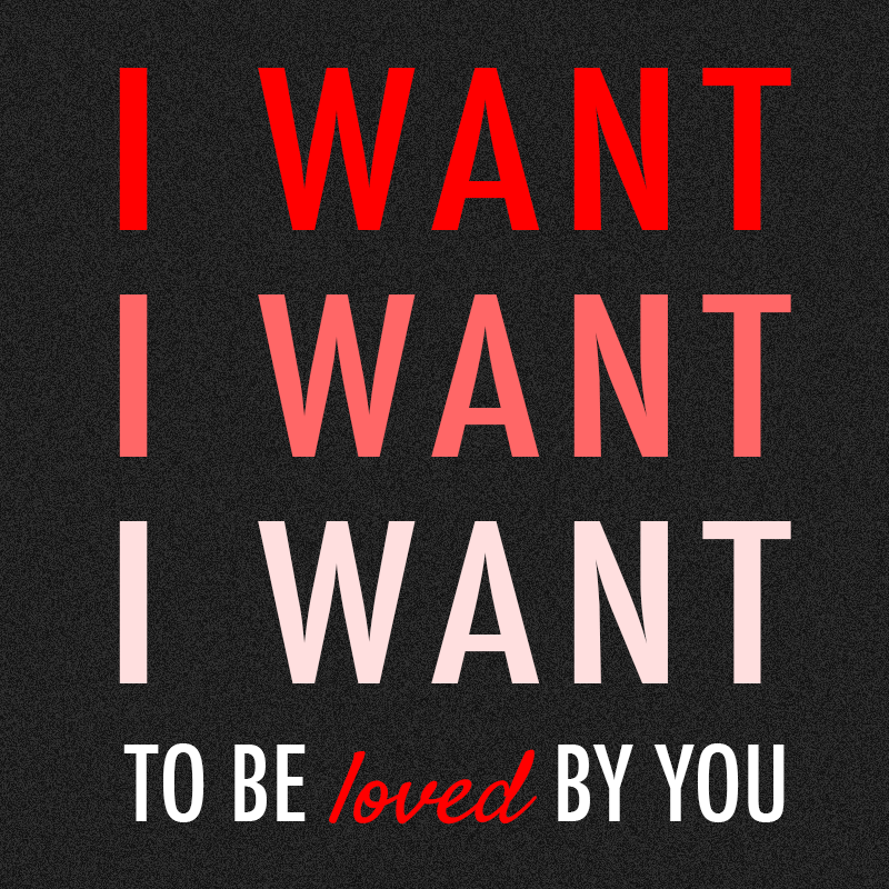 One Direction I Want Quote (About typography red loved love i want hope desire crazy)