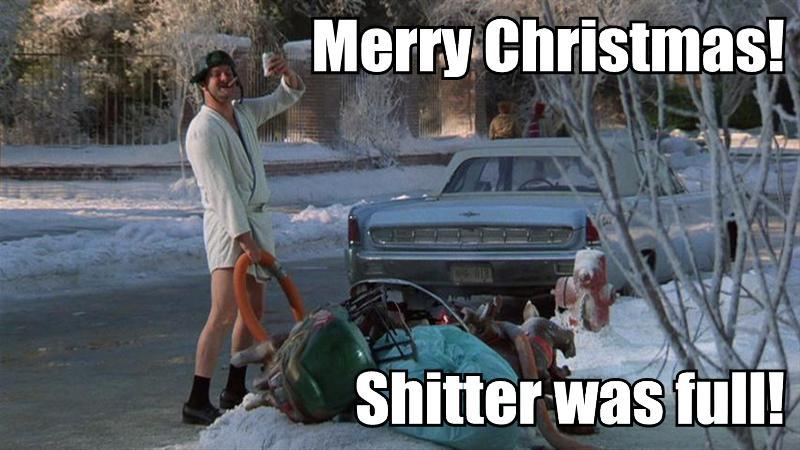 Christmas Vacation (1989)  Quote (About trash shitter rubbish merry xmas holiday funny clean christmas)