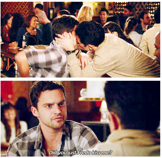New Girl Quote (About kissing gay funny Freddo kiss bromance)