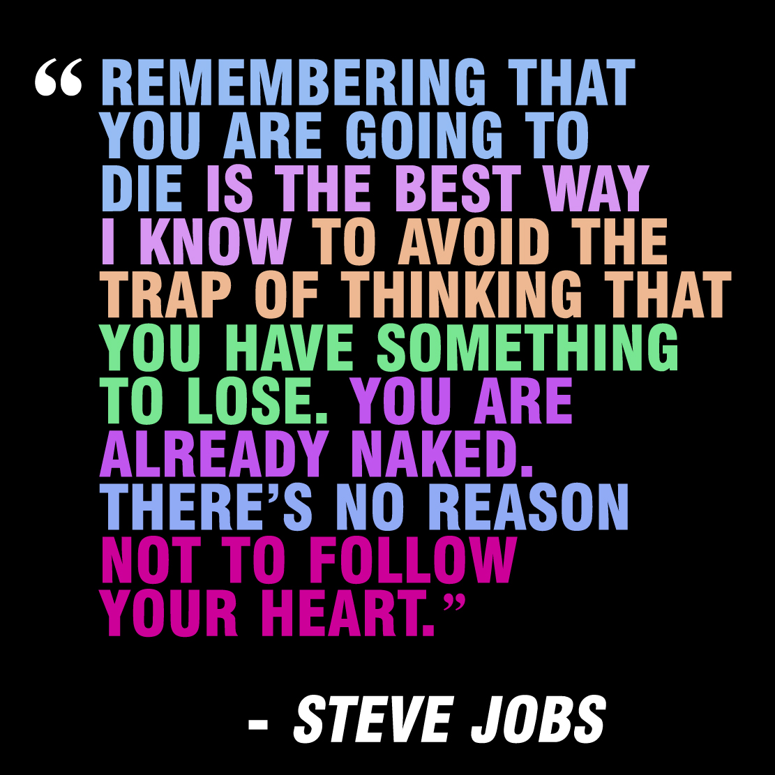 Steve Jobs  Quote (About university trap success stanford speech naked lose life inspirational heart)