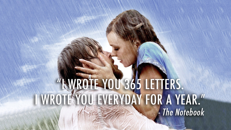The Notebook (2004)  Quote (About love letters love letters everyday 365 letters)