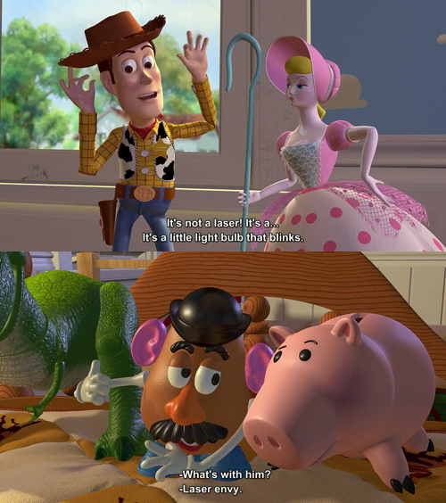 Toy Story (1995)  Quote (About light bulb laser envy laser jealous)