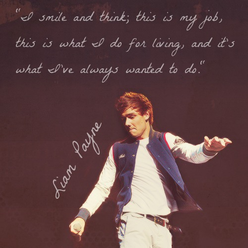 Liam Payne  Quote (About smile living job fame career)