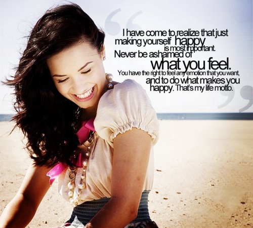 Demi Lovato  Quote (About motto life motto life inspirational happy happiness feeling emotion be strong ashamed)