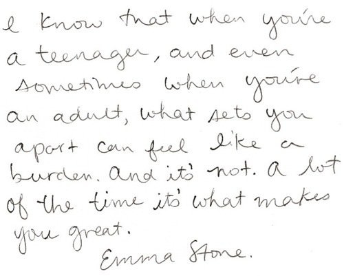 Emma Stone  Quote (About teenager speech MTV Trailblazer Award inspirational burden adult)