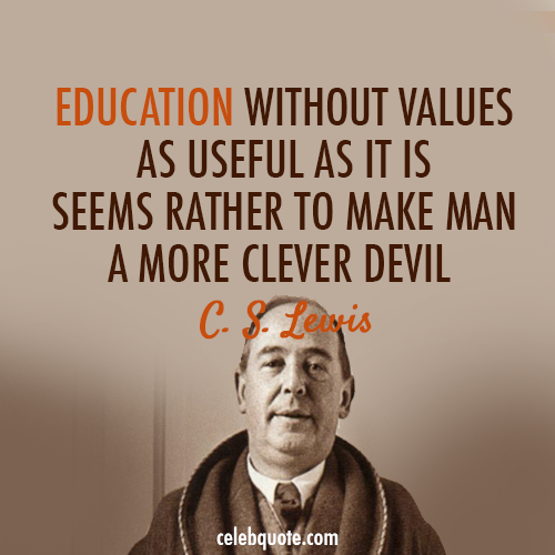 C. S. Lewis Quote (About study smart school education devil clever)