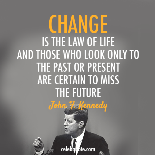 John F. Kennedy Quote (About present past life future changes change)