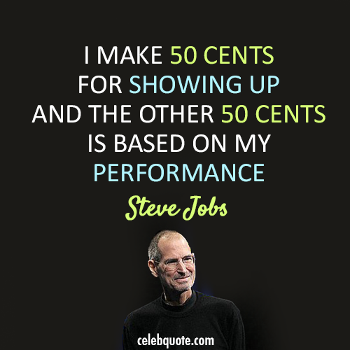 Steve Jobs Quote (About performance 50 cents)