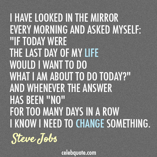 Steve Jobs Quote (About today success life changes)