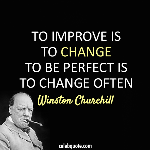Winston Churchill Quote (About success perfect improve changes)