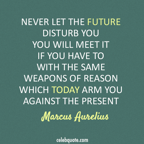 Marcus Aurelius Quote (About today present future)