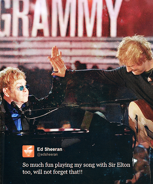 Ed Sheeran Quote (About performance grammy awards Elton John)