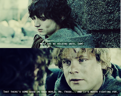 The Lord of the Rings: The Two Towers (2002) Quote (About world hope Frodo encourage)