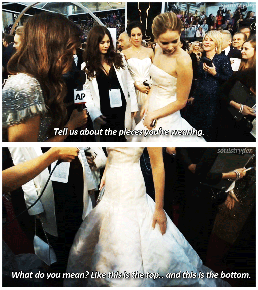 Oscars 2013 (85th Academy Awards) Quote (About red carpet interview funny dress)