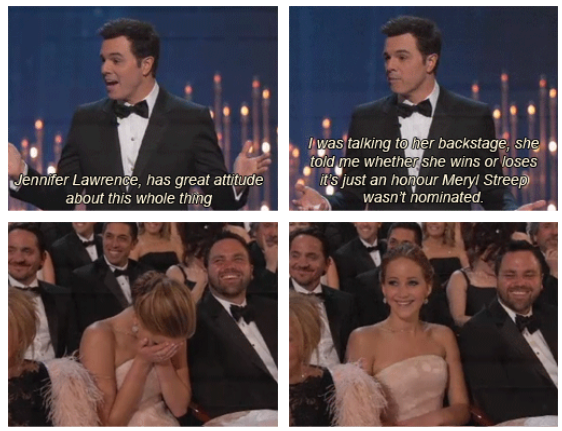 Oscars 2013 (85th Academy Awards) Quote (About Meryl Streep joke Jennifer Lawrence funny)