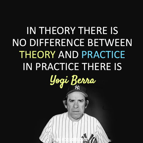 Yogi Berra Quote (About theory practice)