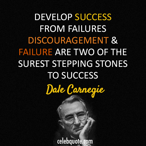 Dale Carnegie Quote (About success failure discouragement challenges)