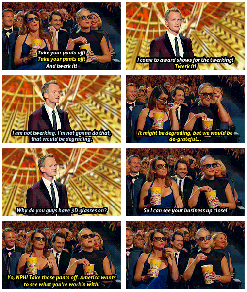 Emmy Awards 2013 Quote (About tweak Miley Cyrus lol funny 3D glasses)