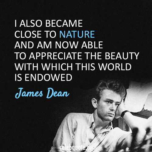 James Dean  Quote (About world nature beauty)