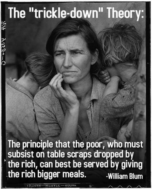 William Blum Quote (About trickle down rich poor)