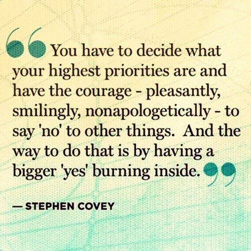 Stephen R. Covey Quote (About yes priority no courage)