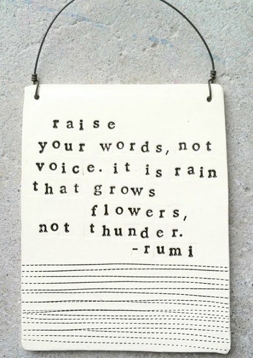 Rumi Quote (About words voice thunder flowers)
