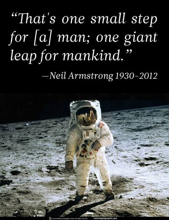 Neil Armstrong Quote (About space small step mankind)