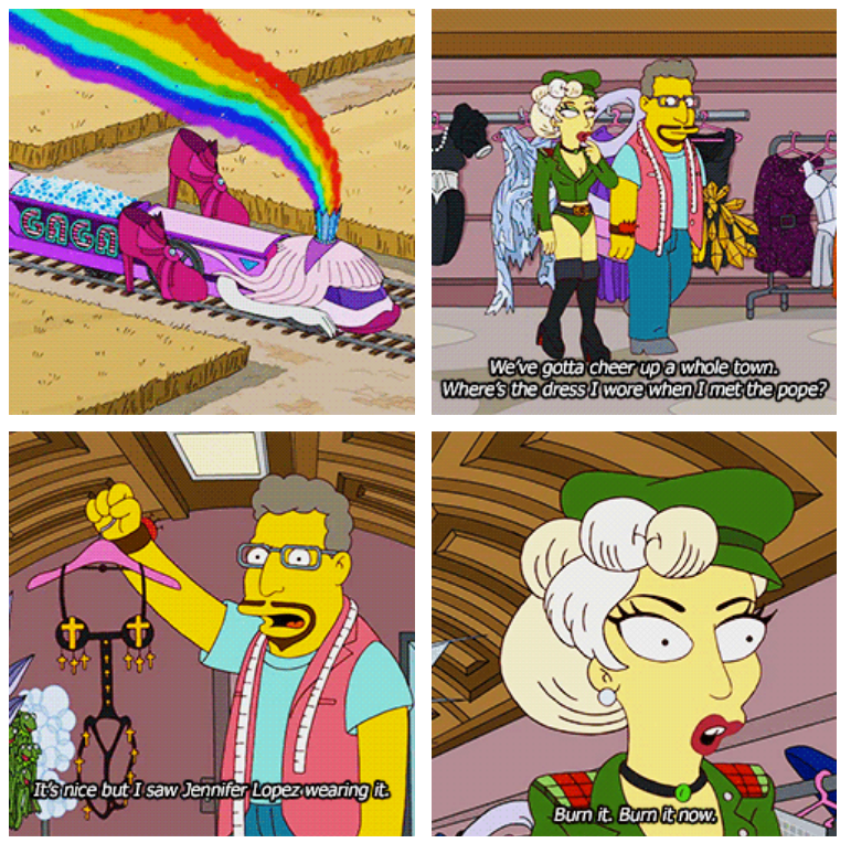 The Simpsons  Quote (About springfield pope outfit Jennifer Lopez dress burn)