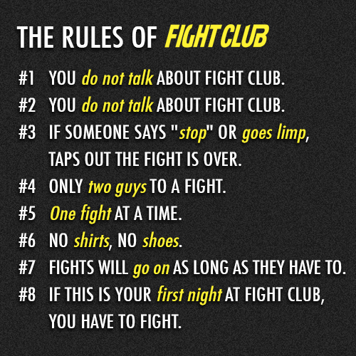 Fight Club (1999)  Quote (About rules of fight club rules do not talk about fight club)