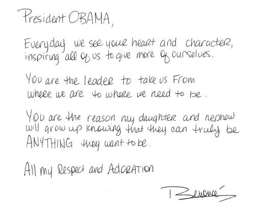 Beyonce Knowles Quote (About respect Obama letter adoration)