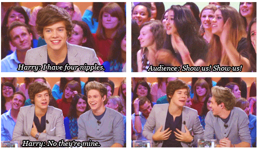Harry Styles  Quote (About nipples mine funny 4 nipples)