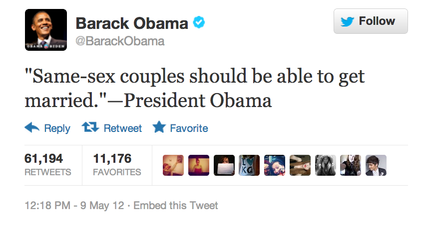 Barack Obama  Quote (About same sex couples rights married marriage LGBT lesbian gay)