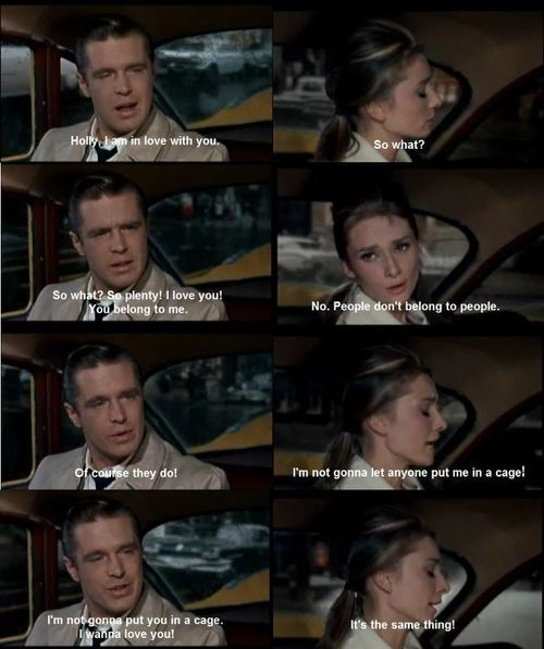 Breakfast at Tiffanys (1961) Quote (About wedding taxi plenty love fight ending disagree couple cage belong to people argue)