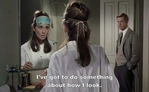 Breakfast at Tiffanys (1961) Quote (About sleeping mask sleep mask pretty mirror makeup make up look green mask fashion clothes)
