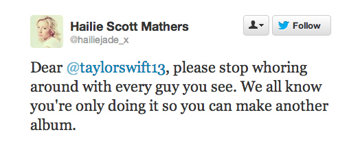 Hailie Scott Mathers  Quote (About whore twitter tweet taylorswift13 hate taylor swift Eminem daughter album)
