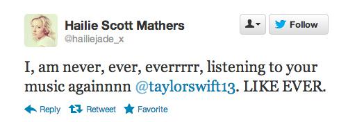 Hailie Scott Mathers  Quote (About twitter tweet Taylor Swift hate harry styles harry dislike)