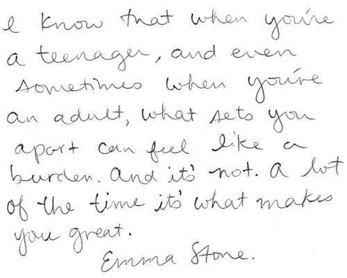 Emma Stone  Quote (About teenager speech MTV Trailblazer Award inspirational burden adult)