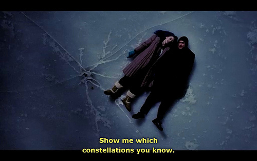 Eternal Sunshine of the Spotless Mind (2004) Quote (About laying on the ice ice skating ice scene constellations)