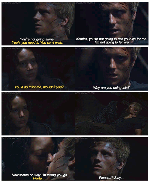 The Hunger Games (2012) Quote (About star crossed lovers p & k kissing district 12 cave scene)